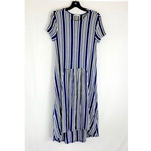 Zara Trafaluc Blue Stripe Maxi Dress